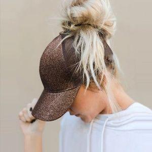 Accessories - Brown Glitter Ponytail Baseball Cap Trucker Hat